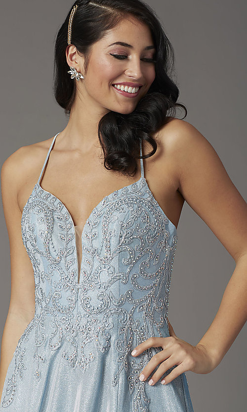 Image of long glitter-knit v-neck prom dress with corset. Style: DQ-2968 Detail Image 1