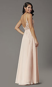 Image of v-neck long illusion prom dress with embroidery. Style: DQ-2982 Back Image