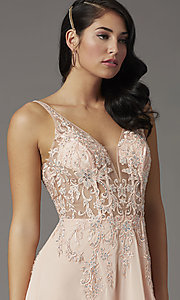 Image of v-neck long illusion prom dress with embroidery. Style: DQ-2982 Detail Image 1