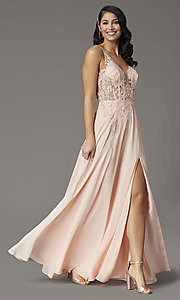 Image of v-neck long illusion prom dress with embroidery. Style: DQ-2982 Detail Image 2