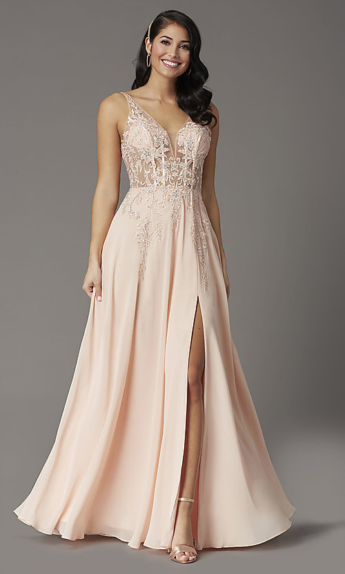 Image of v-neck long illusion prom dress with embroidery. Style: DQ-2982 Front Image