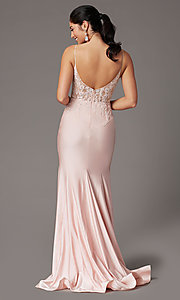 Image of blush pink v-neck long prom dress with embroidery. Style: DQ-4001 Back Image