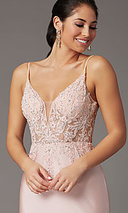 Image of blush pink v-neck long prom dress with embroidery. Style: DQ-4001 Detail Image 1