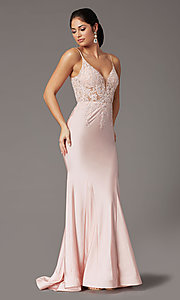 Image of blush pink v-neck long prom dress with embroidery. Style: DQ-4001 Detail Image 2