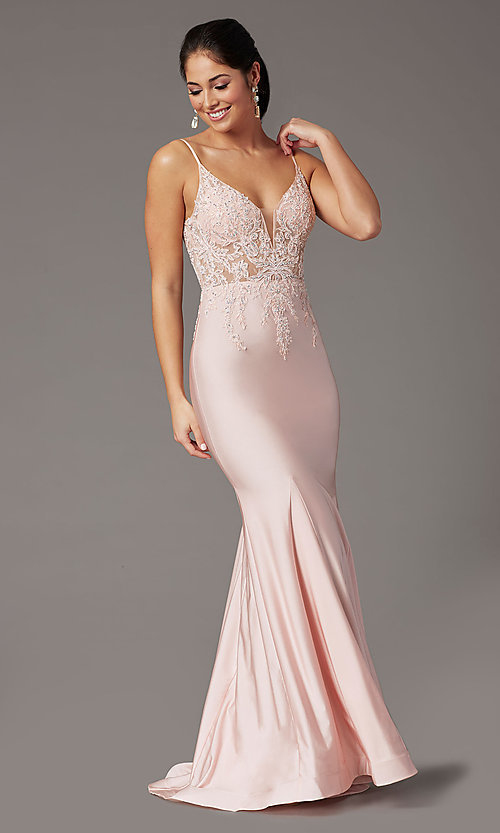 Image of blush pink v-neck long prom dress with embroidery. Style: DQ-4001 Front Image