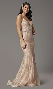 Image of glitter long open-back prom dress in rose gold. Style: DQ-4007 Front Image