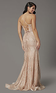 Image of glitter long open-back prom dress in rose gold. Style: DQ-4007 Back Image