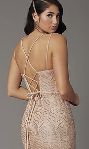 Image of glitter long open-back prom dress in rose gold. Style: DQ-4007 Detail Image 1