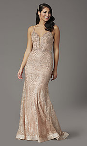 Image of glitter long open-back prom dress in rose gold. Style: DQ-4007 Detail Image 2