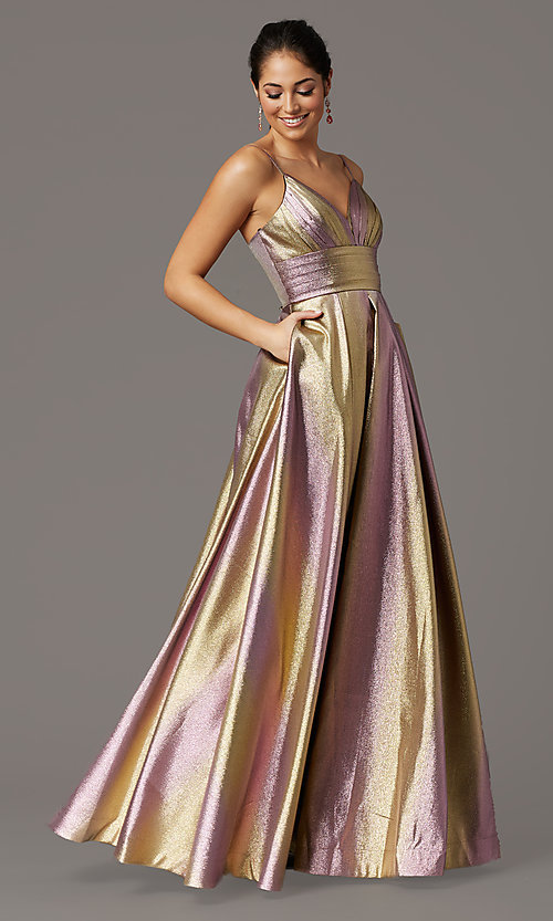 Image of long iridescent v-neck prom dress with corset. Style: DQ-4016 Front Image