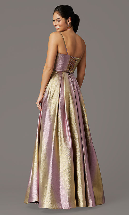 Image of long iridescent v-neck prom dress with corset. Style: DQ-4016 Back Image