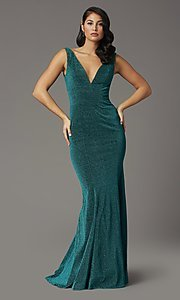 Image of metallic glitter long sparkly formal prom dress. Style: DQ-4020 Detail Image 3