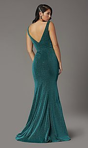 Image of metallic glitter long sparkly formal prom dress. Style: DQ-4020 Detail Image 4