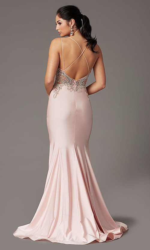 Image of long dusty rose prom dress with beaded bodice. Style: DQ-4060 Back Image