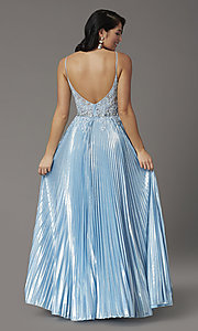 Image of sky blue long prom dress with pleated skirt. Style: DQ-4038 Back Image