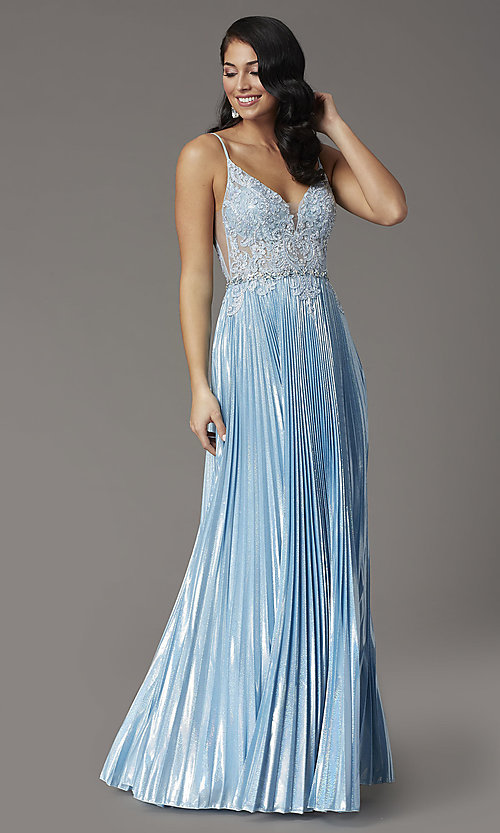 Image of sky blue long prom dress with pleated skirt. Style: DQ-4038 Front Image