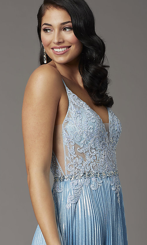 Image of sky blue long prom dress with pleated skirt. Style: DQ-4038 Detail Image 1