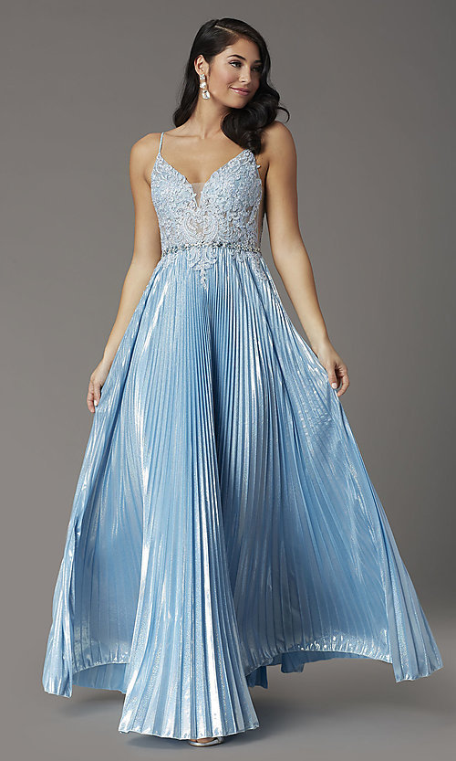 Image of sky blue long prom dress with pleated skirt. Style: DQ-4038 Detail Image 2