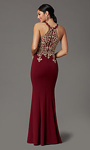 Image of high-neck embellished long prom dress by PromGirl. Style: DQ-PL-2908 Back Image