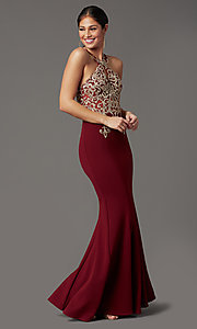 Image of high-neck embellished long prom dress by PromGirl. Style: DQ-PL-2908 Detail Image 2