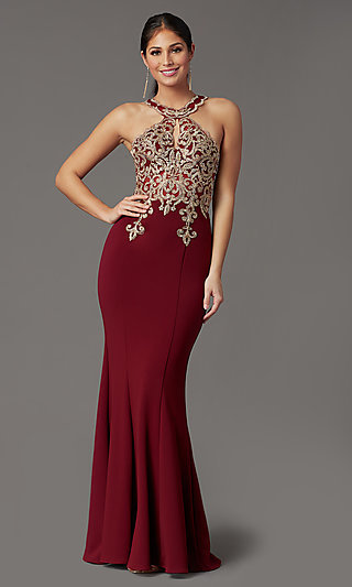 High-Neck Embellished Long Prom Dress by PromGirl