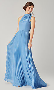 Image of high-neck halter long pleated bridesmaid dress. Style: KL-200197 Detail Image 5