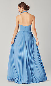 Image of high-neck halter long pleated bridesmaid dress. Style: KL-200197 Detail Image 6