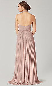 Image of high-neck halter long pleated bridesmaid dress. Style: KL-200197 Detail Image 2