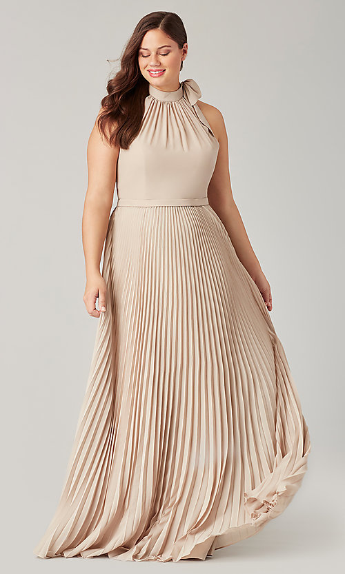 Image of high-neck halter long pleated bridesmaid dress. Style: KL-200197 Detail Image 3