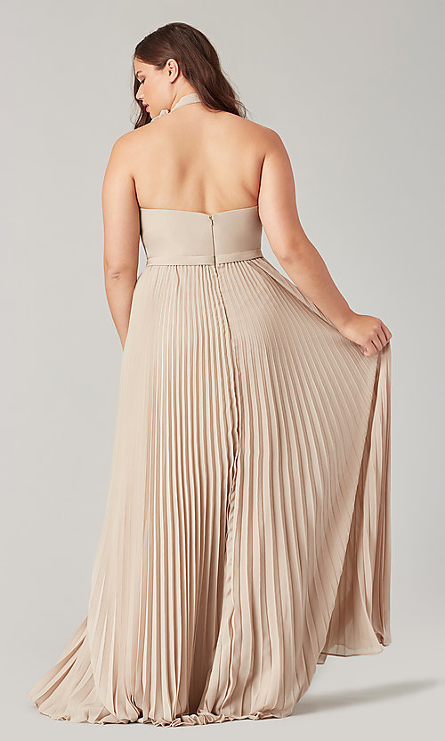 Image of high-neck halter long pleated bridesmaid dress. Style: KL-200197 Detail Image 4
