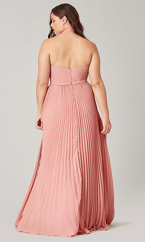 Image of high-neck halter long pleated bridesmaid dress. Style: KL-200197 Back Image