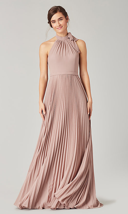Image of high-neck halter long pleated bridesmaid dress. Style: KL-200197 Detail Image 1