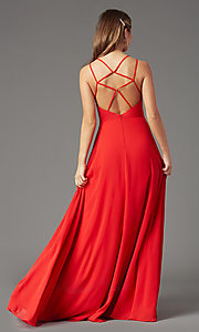 Image of long v-neck caged-back prom dress by PromGirl. Style: PG-B2002 Detail Image 7