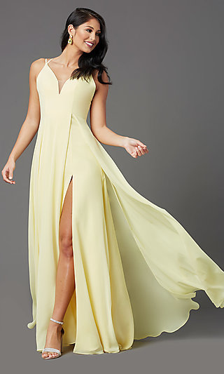 Long V-Neck Caged-Back Prom Dress by PromGirl