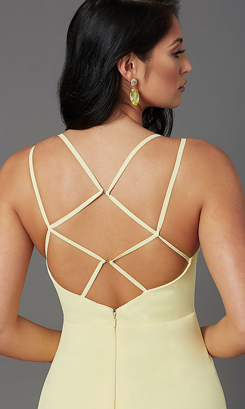 Image of long v-neck caged-back prom dress by PromGirl. Style: PG-B2002 Detail Image 1