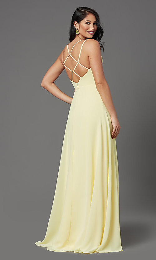 Image of long v-neck caged-back prom dress by PromGirl. Style: PG-B2002 Back Image