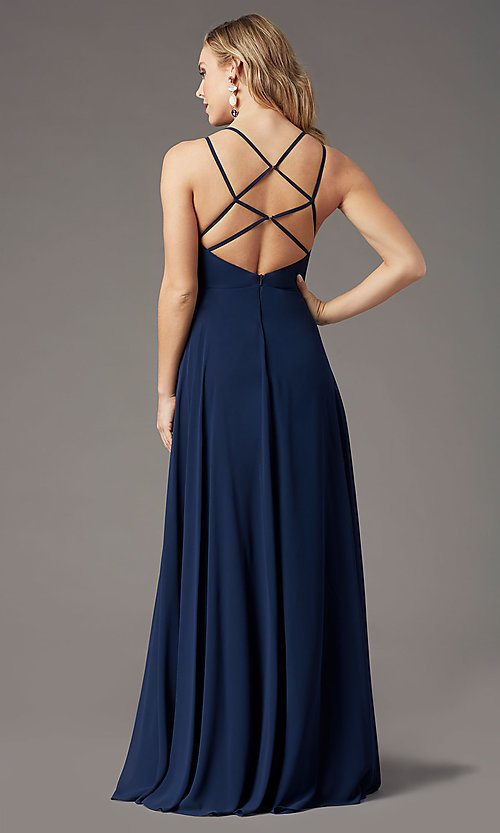Image of long v-neck caged-back prom dress by PromGirl. Style: PG-B2002 Detail Image 3