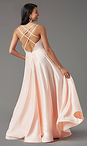 Image of v-neck long faux-wrap prom dress by PromGirl. Style: PG-B2003 Detail Image 7
