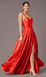 Image of v-neck long faux-wrap prom dress by PromGirl. Style: PG-B2003 Front Image