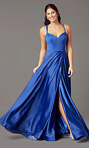 Image of v-neck long faux-wrap prom dress by PromGirl. Style: PG-B2003 Detail Image 3