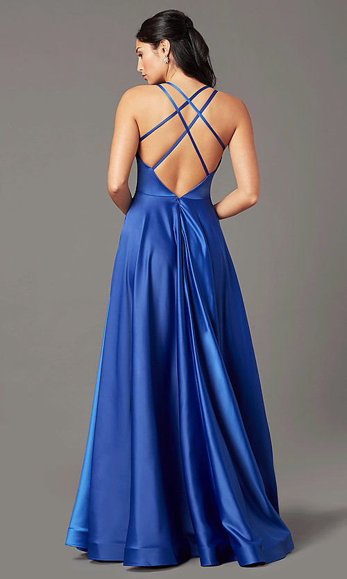 Image of v-neck long faux-wrap prom dress by PromGirl. Style: PG-B2003 Detail Image 4