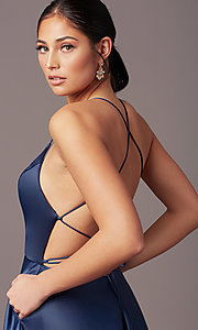 Image of corset open-back long prom dress by PromGirl. Style: PG-B2005 Detail Image 7