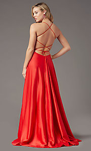 Image of corset open-back long prom dress by PromGirl. Style: PG-B2005 Back Image
