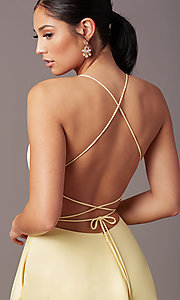 Image of corset open-back long prom dress by PromGirl. Style: PG-B2005 Detail Image 4