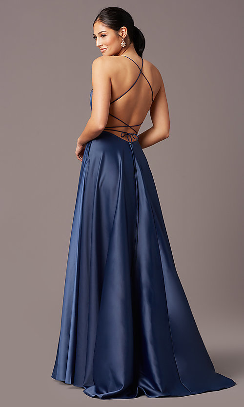 Image of corset open-back long prom dress by PromGirl. Style: PG-B2005 Detail Image 6