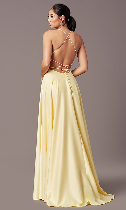 Image of corset open-back long prom dress by PromGirl. Style: PG-B2005 Detail Image 3