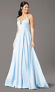 Image of strappy-back long formal prom dress by PromGirl. Style: PG-B2008 Detail Image 2