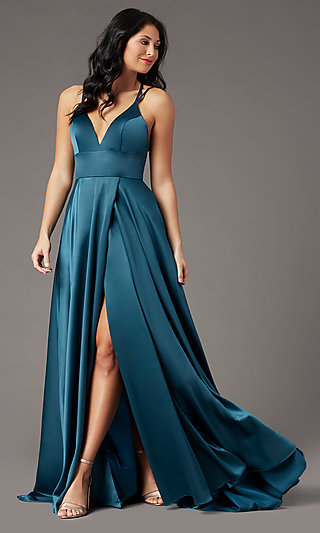 Strappy-Back Long Formal Prom Dress by PromGirl