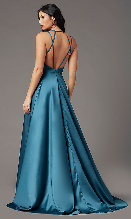 Image of strappy-back long formal prom dress by PromGirl. Style: PG-B2008 Back Image
