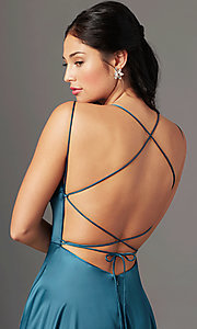 Image of square-neck long formal prom dress by PromGirl. Style: PG-B2010 Detail Image 4